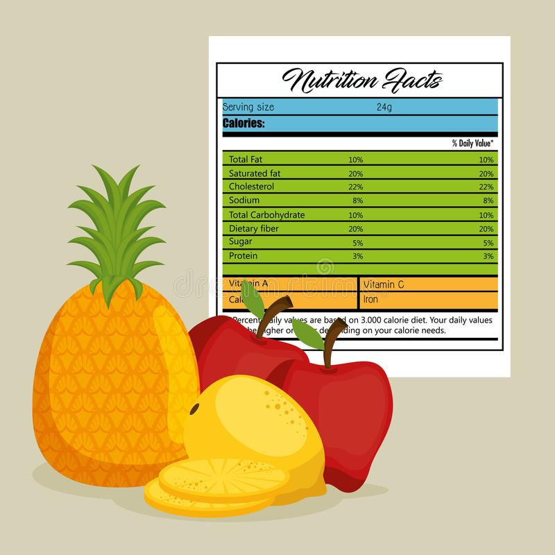 Las frutas agrupan con hechos de la nutrición ilustración del vector
