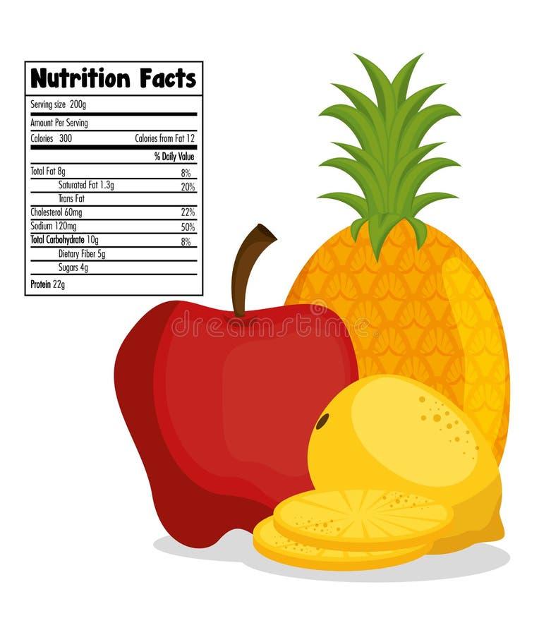 Las frutas agrupan con hechos de la nutrición libre illustration