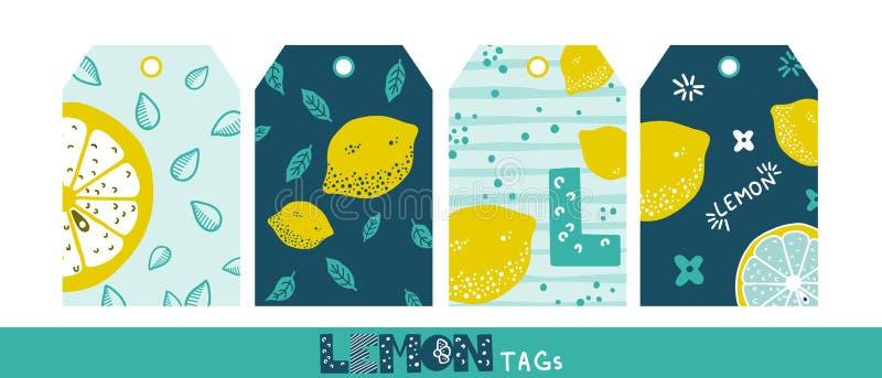 Las frutas dan etiquetas exhaustas Textura del lim?n Etiquetas sanas y frescas del color de la fruta cítrica Azul claro, acuñe y  ilustración del vector