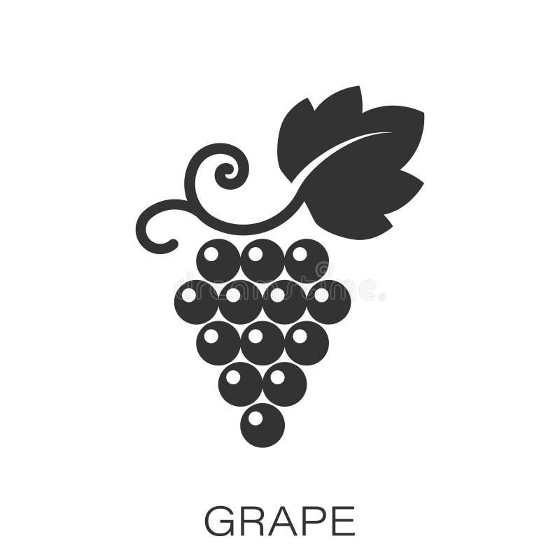 Las frutas de la uva firman el icono en estilo plano Ejemplo del vector de la vid en el fondo aislado blanco Concepto del negocio stock de ilustración