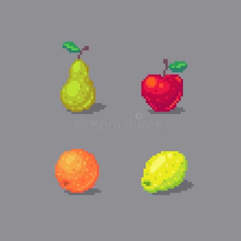 Las frutas del arte del pixel fijaron aislado en fondo gris stock de ilustración