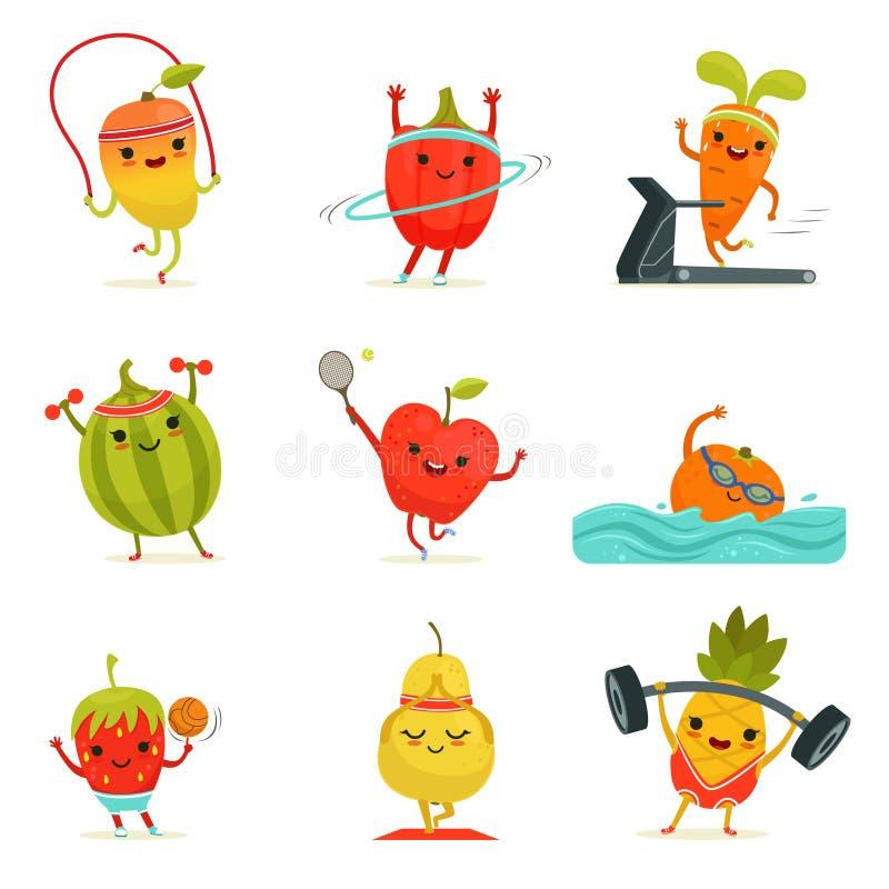 Las frutas divertidas hacen ejercicios de la aptitud Sistema de la historieta del vector con las comidas de la dieta stock de ilustración