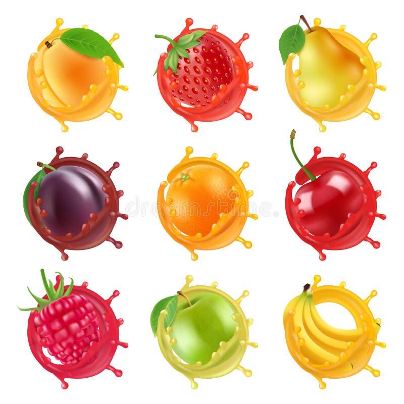 Las frutas en jugoso salpican Las imágenes realistas del vector de las frutas frescas para las etiquetas diseñan stock de ilustración