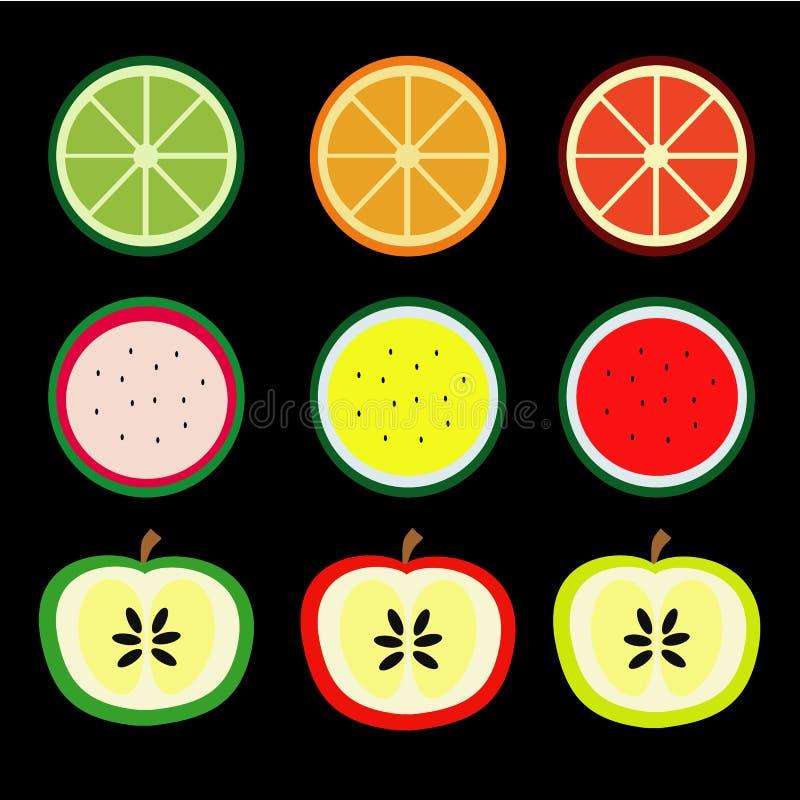 Las frutas, naranja, limón, sandía, manzana son coloridas fotografía de archivo libre de regalías