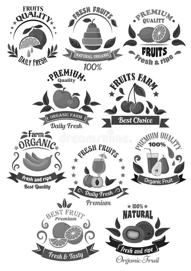 Las frutas para la granja los iconos del vector almacenan o de la etiqueta del jugo stock de ilustración