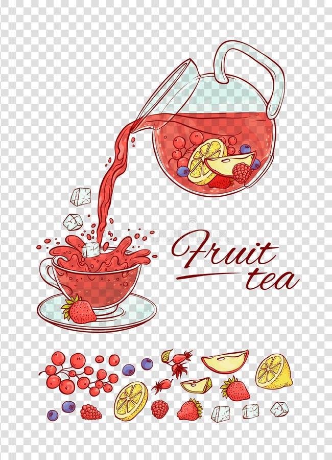 Las frutas y las bayas del constructor de la bebida del té de hielo del vector preparan proceso Haga y vierta aromático frío de l ilustración del vector