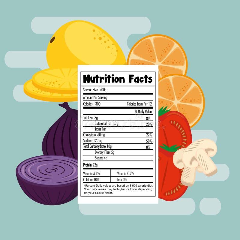 Las frutas y verduras agrupan con hechos de la nutrición libre illustration