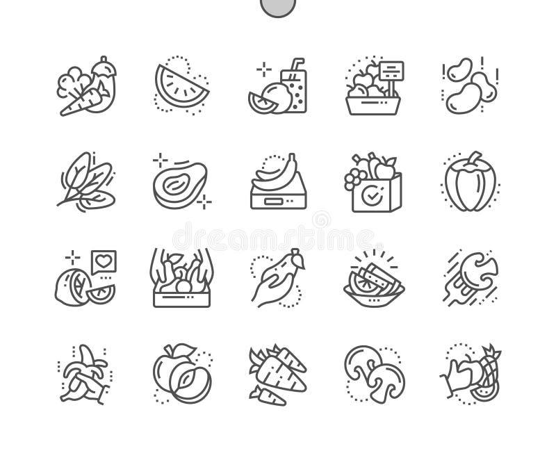 Las frutas y verduras Bien-hicieron la línea fina rejilla 2x de los iconos 30 del vector a mano perfecto del pixel para los gráfi libre illustration