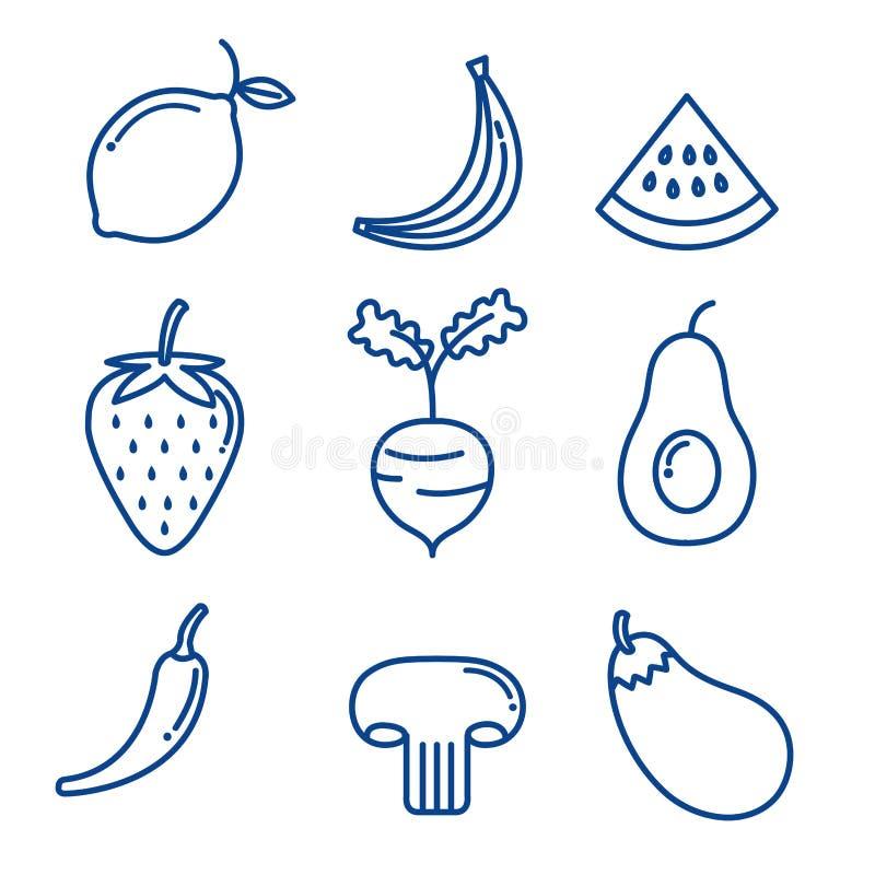 Las frutas y verduras fijaron iconos libre illustration