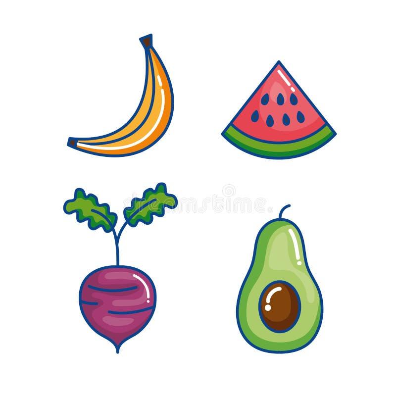 Las frutas y verduras fijaron iconos ilustración del vector