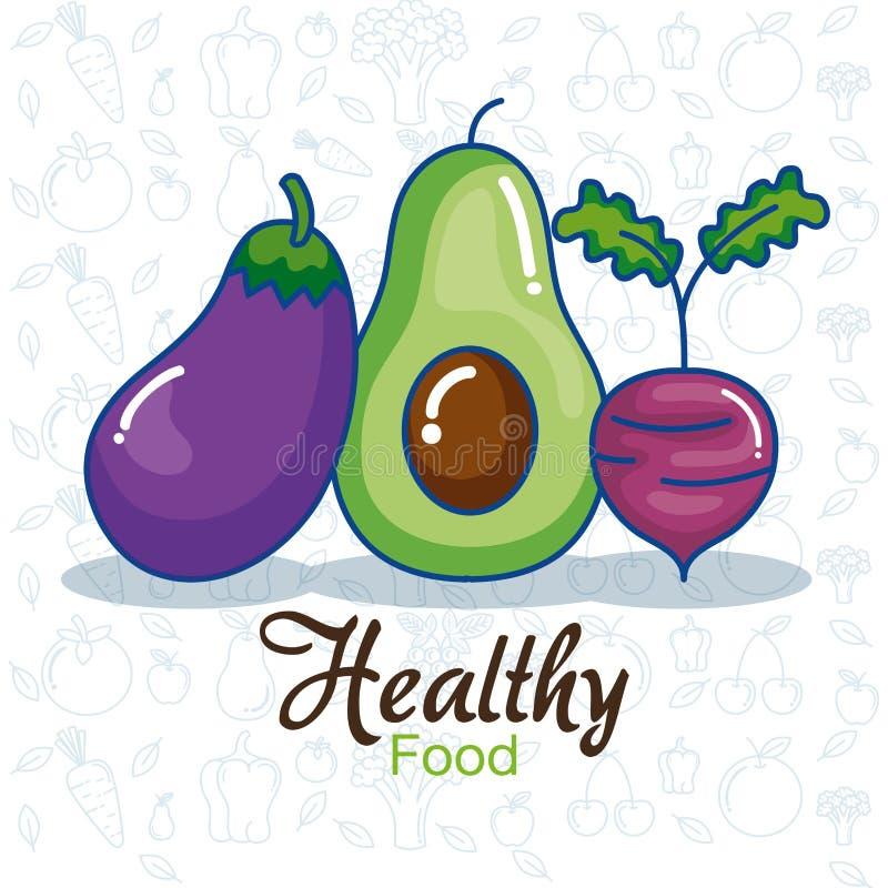 Las frutas y verduras fijaron iconos stock de ilustración