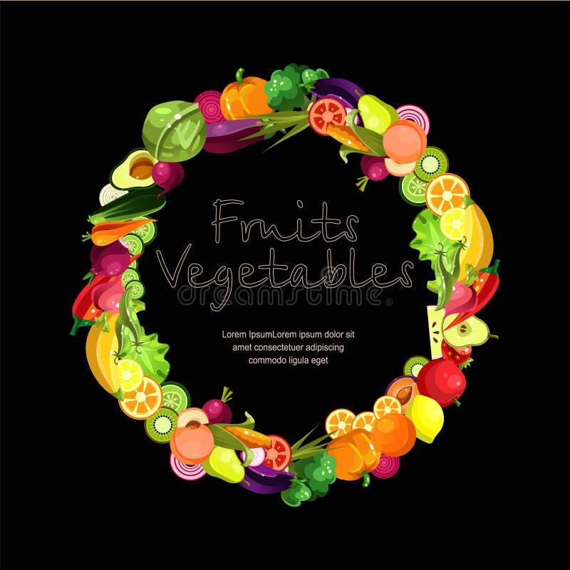 Las frutas y verduras se recogen en una guirnalda ilustración del vector