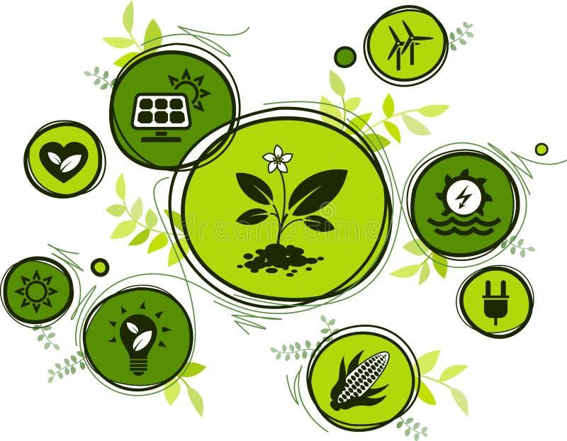 Las fuentes de energía renovables y sostenibles - riegue, solar, viento, energía de la biomasa: ejemplo plano del icono stock de ilustración