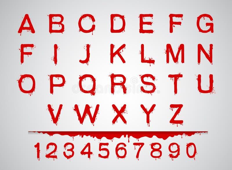 Las fuentes de la sangre fijaron el sistema de la sangre del alfabeto ilustración del vector