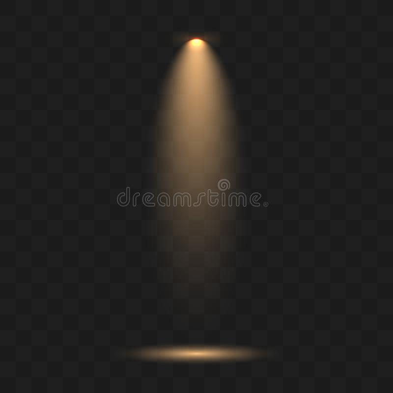 Las fuentes de luz, iluminación del concierto, etapa ponen de relieve ilustración del vector