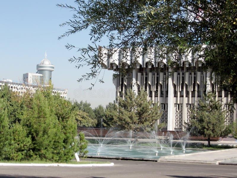 Las fuentes de Tashkent acercan a la sala de conciertos 2007 de la amistad de la gente fotos de archivo libres de regalías