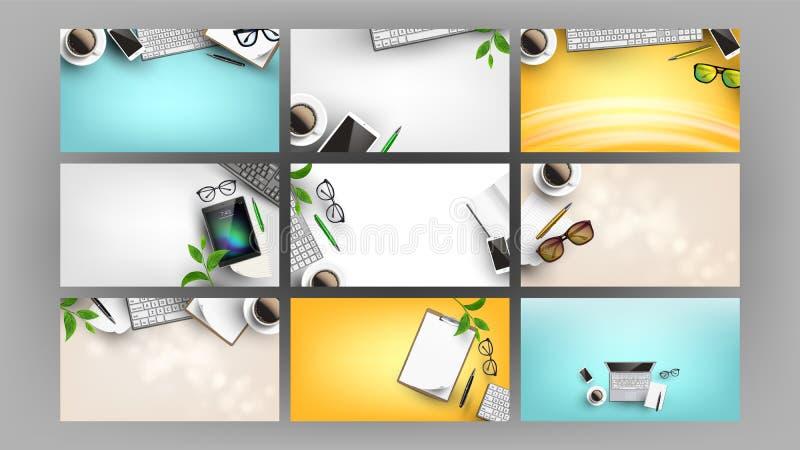 Las fuentes en el escritorio del trabajo de oficina fijaron vector puesto plano ilustración del vector