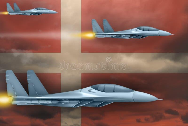 Las fuerzas aéreas de Dinamarca pegan concepto Los aviones de aire atacan en fondo de la bandera de Dinamarca ilustraci?n 3D imagen de archivo