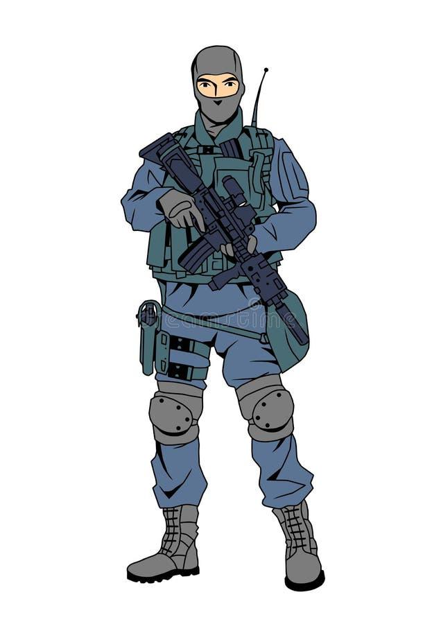 Las fuerzas especiales el oficial de policía, historieta, carácter, color, dibujo, ejemplo, vector ilustración del vector