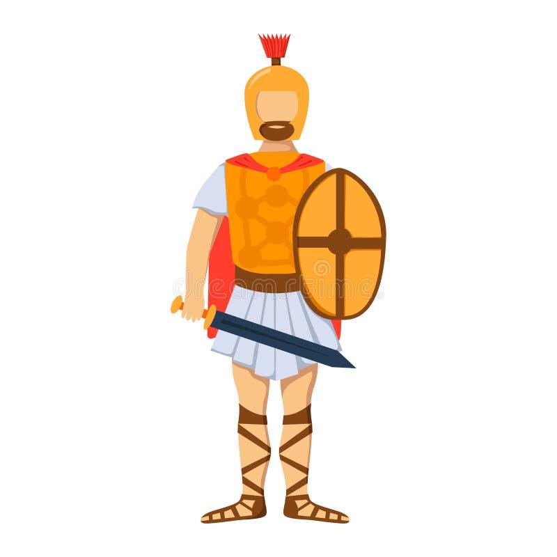 Las fuerzas romanas militares de la silueta del hombre de la armadura del arma del carácter del soldado diseñan y marina de guerr ilustración del vector
