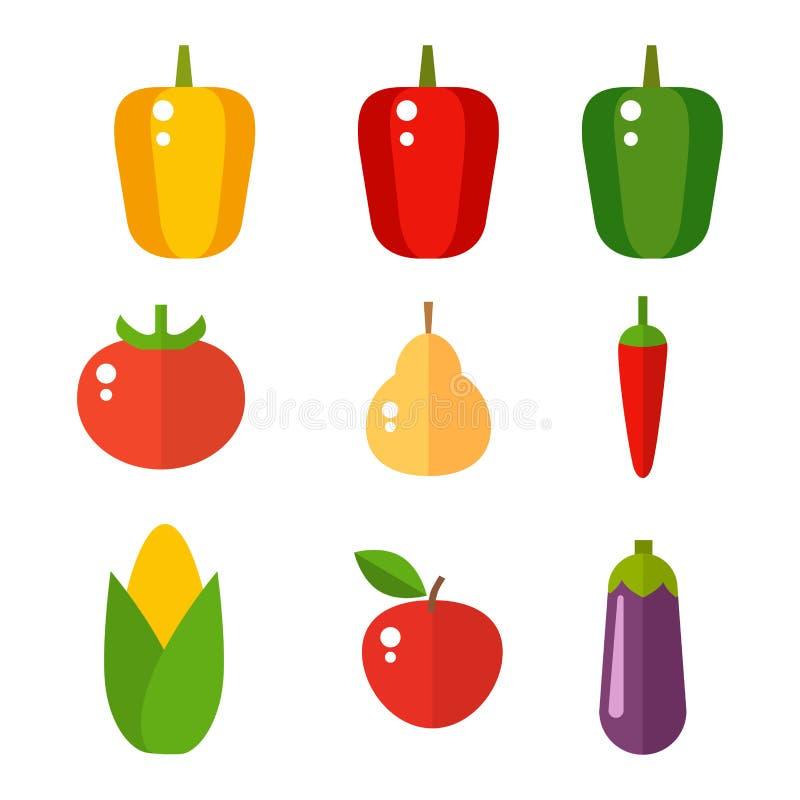 Las gachas de avena determinadas de los tomates de las pimientas del vector de la celulosa de la comida de las verduras aislaron  libre illustration