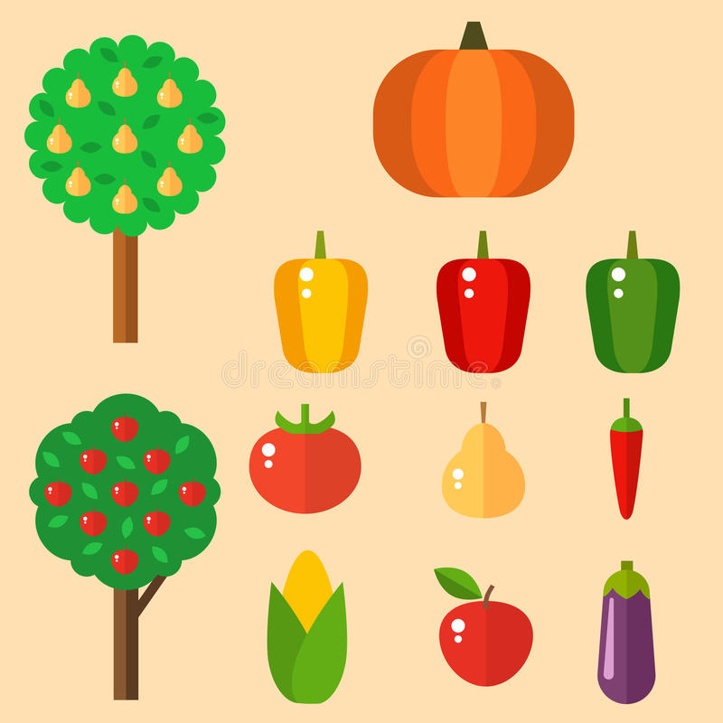 Las gachas de avena determinadas de los tomates de las pimientas del vector de la celulosa de la comida de las verduras aislaron  stock de ilustración