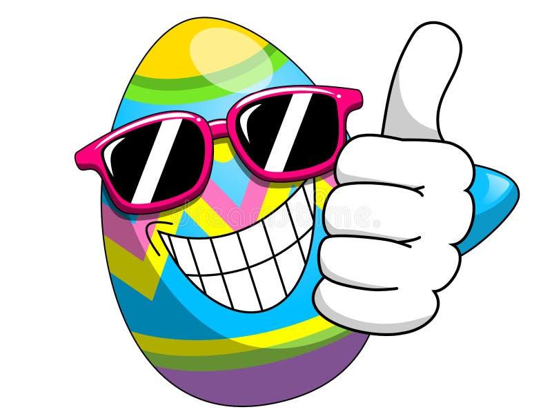 Las gafas de sol adornadas de la historieta del huevo de Pascua manosean con los dedos encima de aislado ilustración del vector