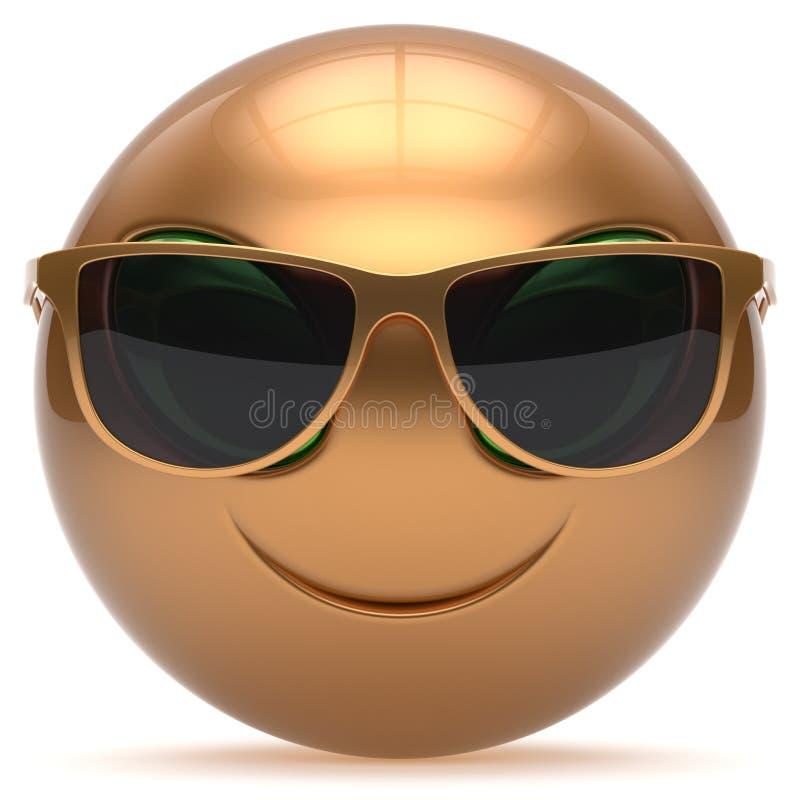 Las gafas de sol lindas de la historieta extranjera sonriente de la cara dirigen el oro del emoticon ilustración del vector