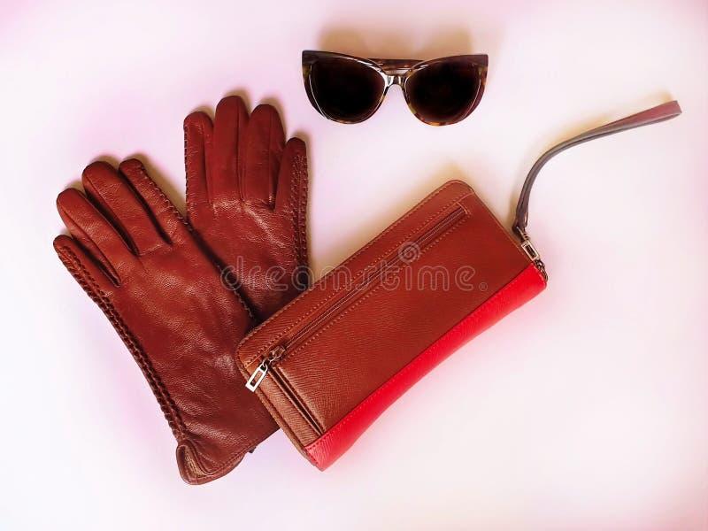 Las gafas de sol de los guantes de cuero fruncen la primavera Autumn Womens Accessories de la moda visten concepto imagenes de archivo