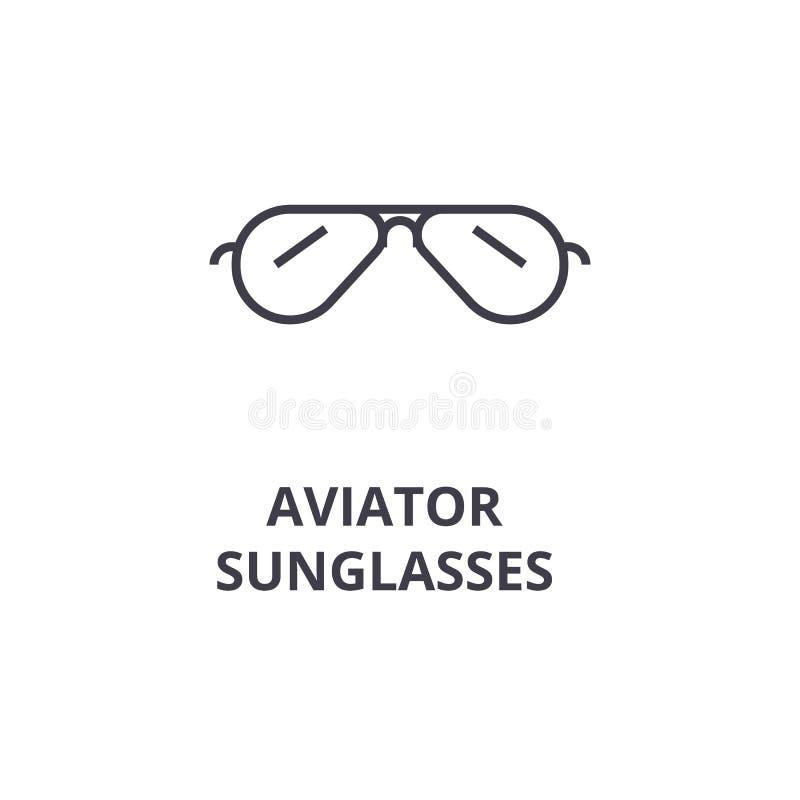 Las gafas de sol tipo aviador alinean el icono, muestra del esquema, símbolo linear, vector, ejemplo plano libre illustration