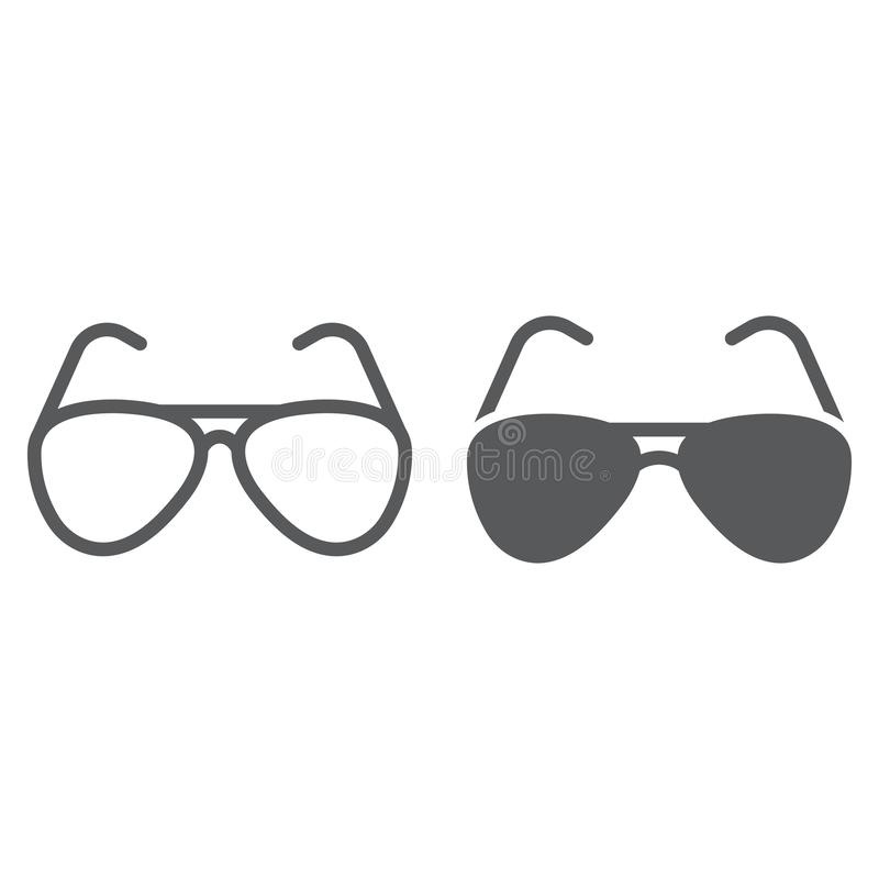 Las gafas de sol tipo aviador alinean y el icono del glyph, el viaje y el turismo, gafas de sol firman los gráficos de vector, un stock de ilustración