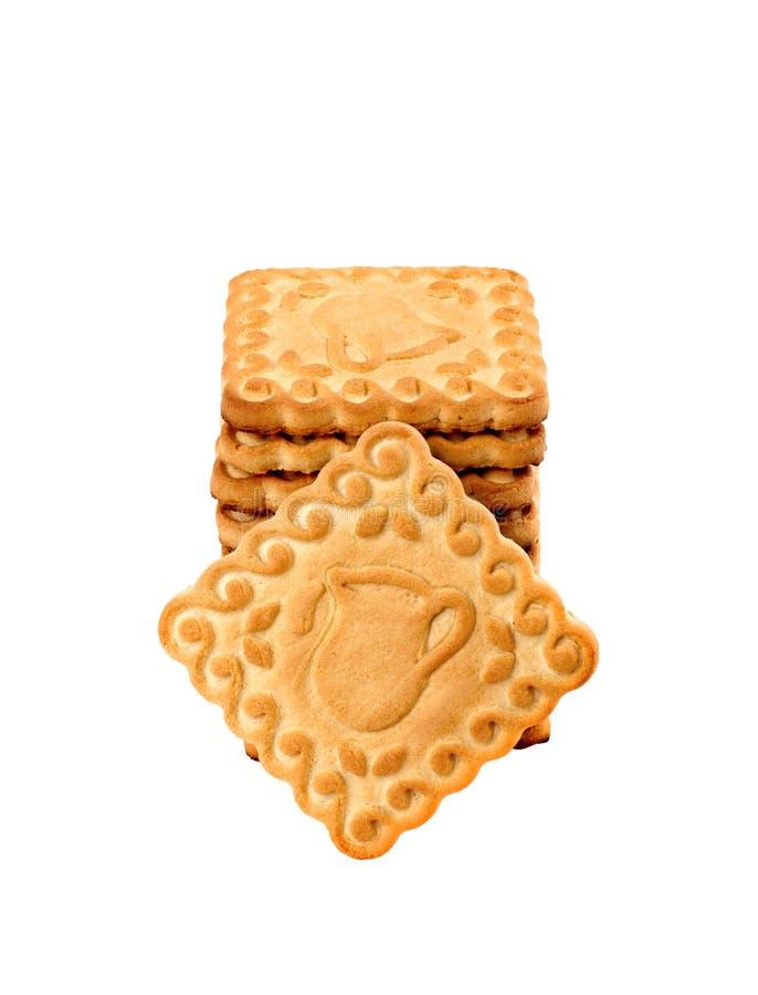Las galletas apilan aislado en blanco fotografía de archivo libre de regalías