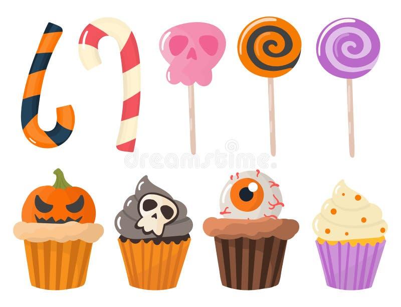 Las galletas coloridas de las habas de jalea de las piruletas de las magdalenas de los dulces del partido de Halloween apelmazan  stock de ilustración