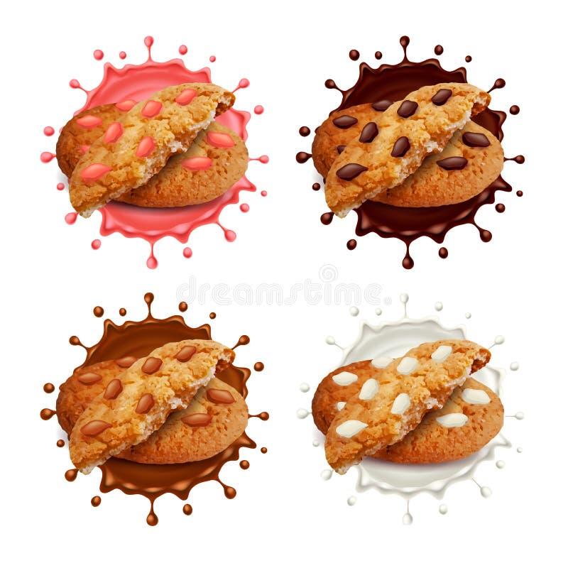 Las galletas de microprocesador de chocolate en leche y chocolate salpican el sistema del vector 3d libre illustration