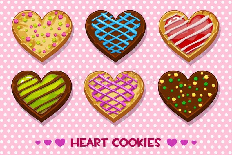 Las galletas en forma de corazón del pan de jengibre y del chocolate con el esmalte multicolor, fijaron día de tarjetas del día d libre illustration