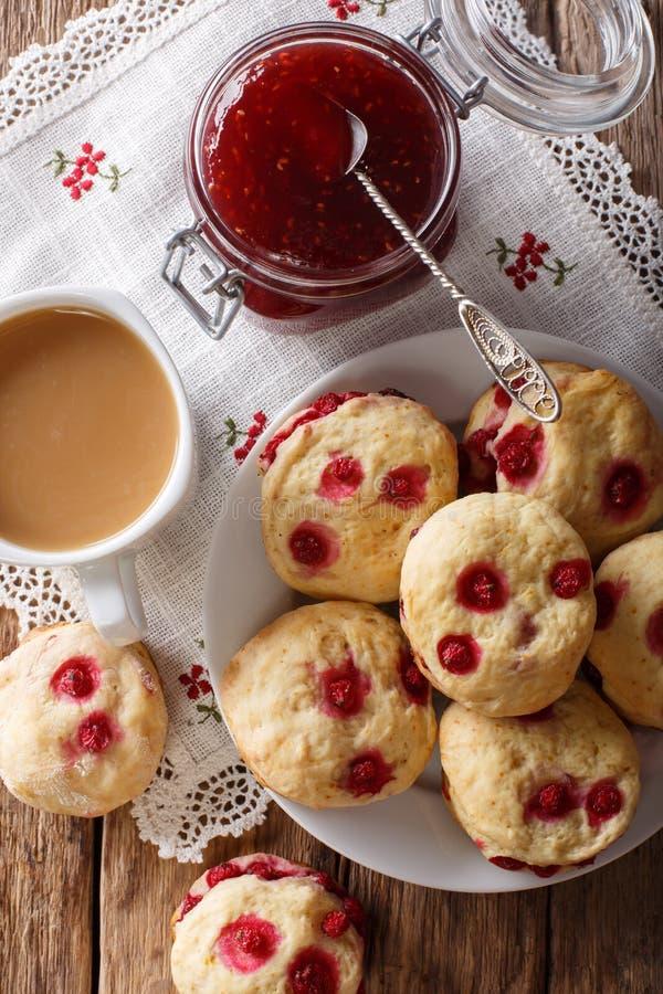 Las galletas inglesas de los apliques con las pasas rojas se sirven con el té a imagen de archivo