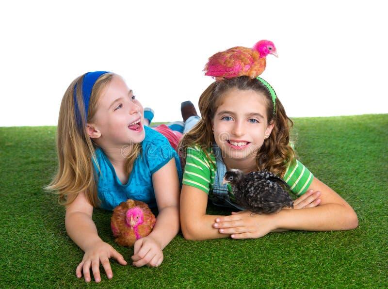 Las gallinas del criador embroman a las muchachas del granjero de la hermana que se divierten con ji del pollo fotos de archivo libres de regalías