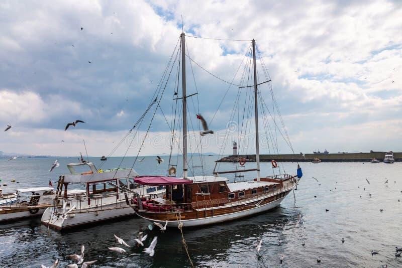 Las gaviotas vuelan sobre los barcos de pesca que se colocan en el embarcadero en Estambul, Turquía fotografía de archivo