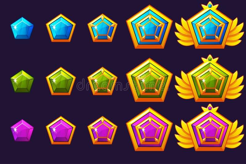 Las gemas conceden progreso Amuletos de oro fijados con joyería Activos de los iconos del vector para el diseño de juego ilustración del vector
