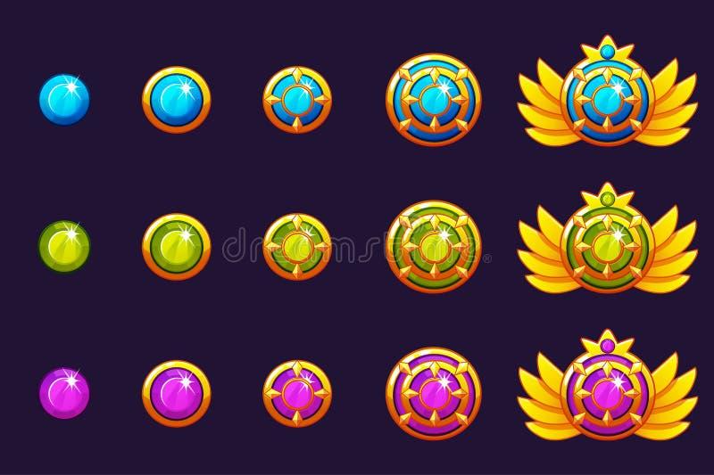 Las gemas conceden progreso Amuletos de oro fijados con joyería redonda Activos de los iconos del vector para el diseño de juego ilustración del vector