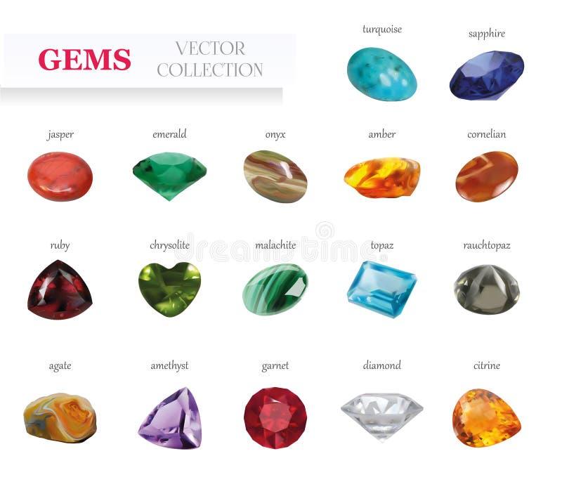 Las gemas realistas Jewerly del vector empiedran la colección grande En el fondo blanco stock de ilustración