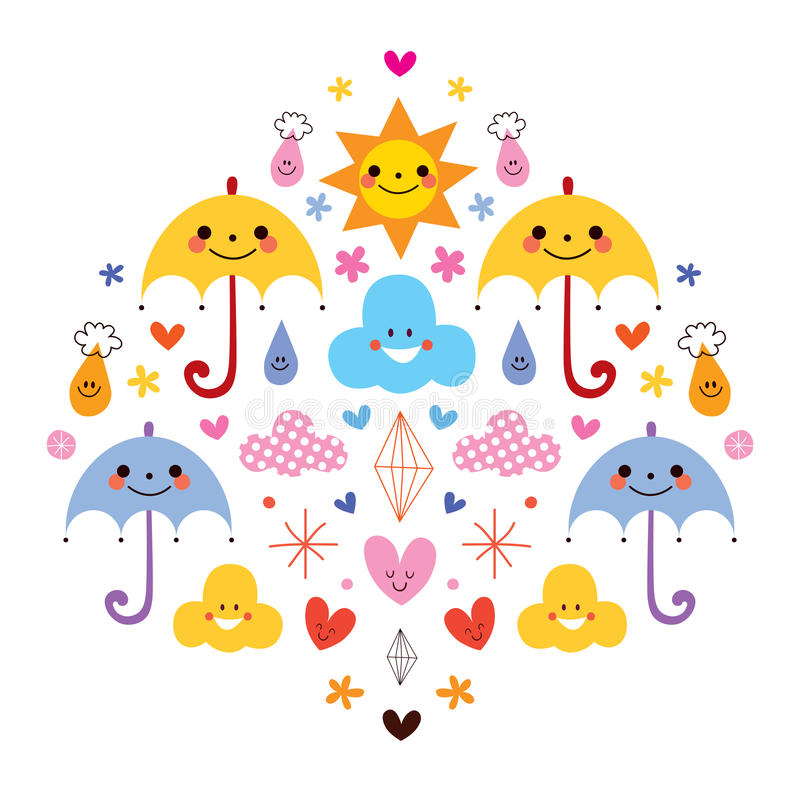 Las gotas de agua lindas de los paraguas florecen el ejemplo del vector de los caracteres de las nubes stock de ilustración