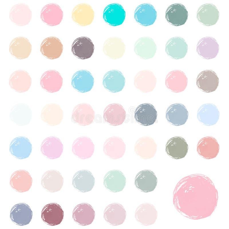 Las gotas de la acuarela, manchan, salpican Sistema de círculos pintados a mano de la acuarela colorida aislados en blanco libre illustration
