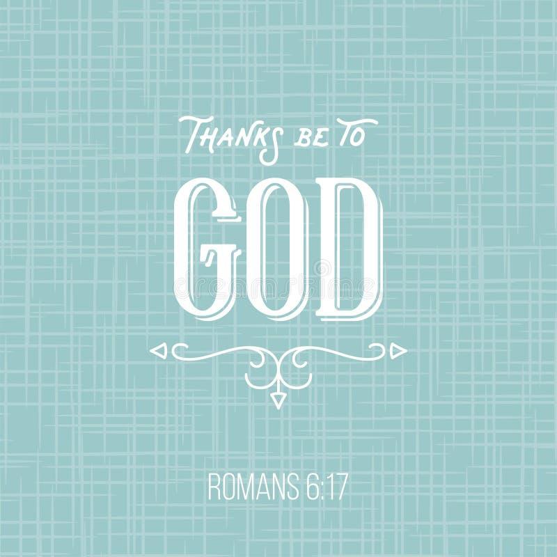 Las gracias estén a dios, cita de romanos, cartel tipográfico FO de la biblia stock de ilustración