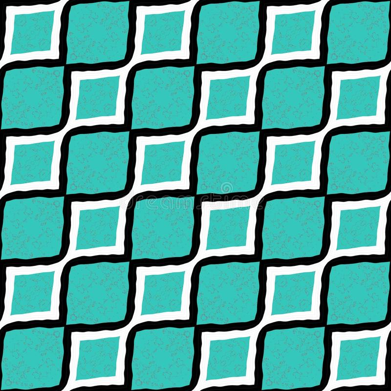 Las grandes líneas diagonales ciánicas y blancas y negras rayaron el papel pintado inconsútil del modelo plano del diseño stock de ilustración