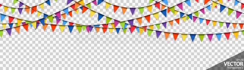 las guirnaldas coloreadas inconsútiles van de fiesta el fondo ilustración del vector
