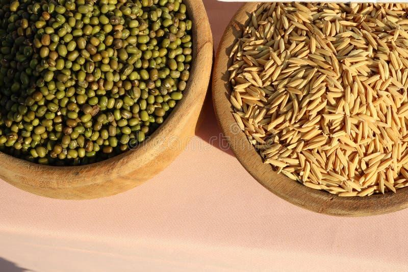 Las habas de Mung y los granos del arroz son cereales dulces, ricos en vitamina A, la vitamina B, minerales, fibra dietética y un imagen de archivo