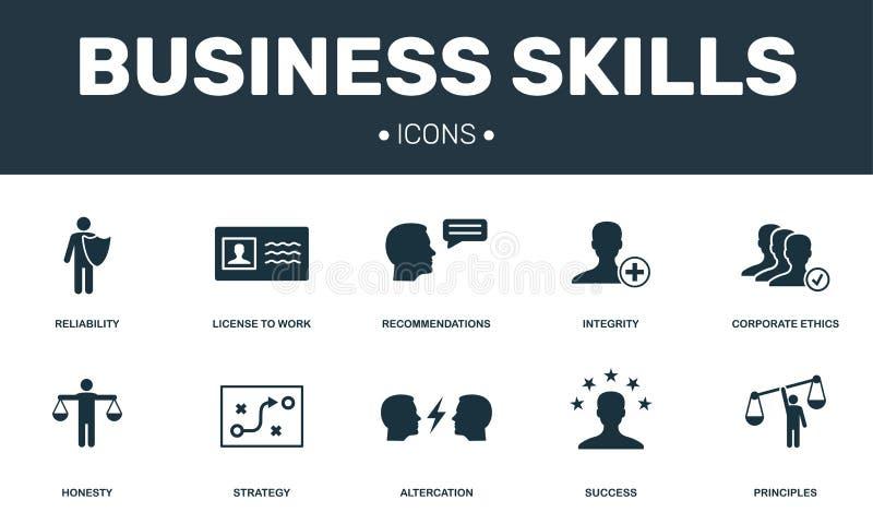 Las habilidades del negocio fijaron la colección de los iconos Incluye elementos simples tales como integridad, éticas corporativ stock de ilustración