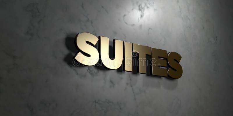 Las habitaciones - muestra del oro montada en la pared de mármol brillante - 3D rindieron el ejemplo común libre de los derechos ilustración del vector