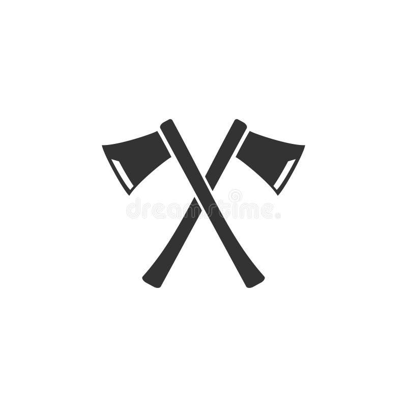 Las hachas del leñador cruzaron el icono completamente ilustración del vector